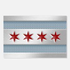Chicago Flag Brushed Metal Postcards (Package of 8