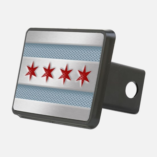 Chicago Flag Brushed Metal Hitch Cover