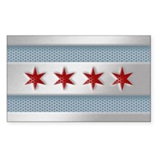 Chicago Flag Brushed Metal Decal