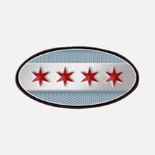 Chicago Flag Brushed Metal Patches