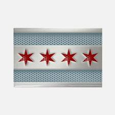 Chicago Flag Brushed Metal Magnets