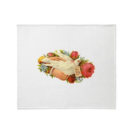 Vintage Antique Victorian Dove Bird Throw Blanket