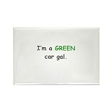 GREEN Car Gal Rectangle Magnet (100 pack)