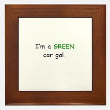 GREEN Car Gal Framed Tile