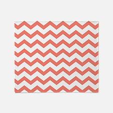 Coral Chevron Stripes Throw Blanket
