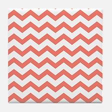 Coral Chevron Stripes Tile Coaster