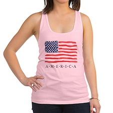 4th of July American flag Racerback Tank Top