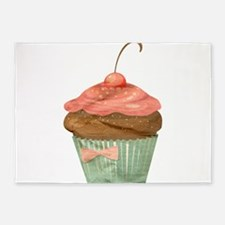 Pink Green Chocolate Cherry Cupcake Vintage Illust