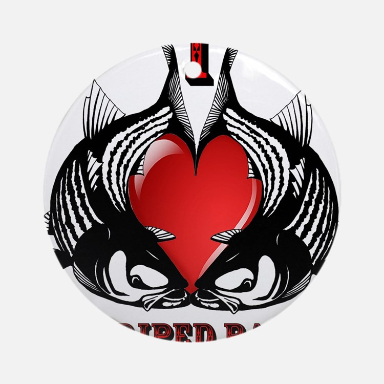 I Heart Striped Bass Ornament (Round)