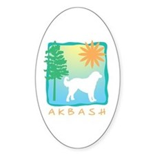 Akbash Tree & Sun Oval Decal
