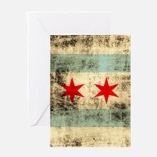 Grunge Chicago Flag Greeting Cards