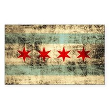 Grunge Chicago Flag Decal