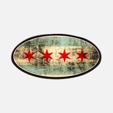Grunge Chicago Flag Patches