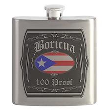 Boricua 100 Proof Flask