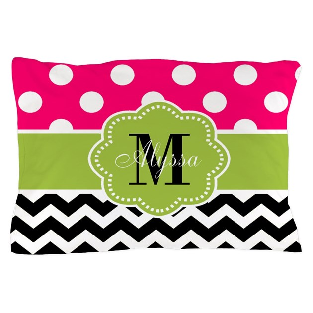 Pink green chevron personalized pillow case by for White craft pillow cases