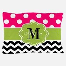 Pink Green Chevron Personalized Pillow Case