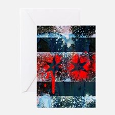 Chicago Flag Spray Paint Art Greeting Cards