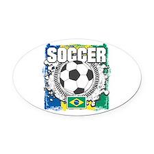 Brazil Soccer Oval Car Magnet