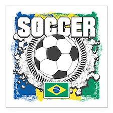 """Brazil Soccer Square Car Magnet 3"""" x 3"""""""