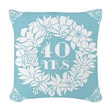 40th Anniversary Wreath Woven Throw Pillow