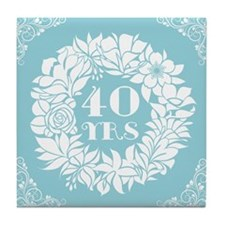 40th Anniversary Wreath Tile Coaster