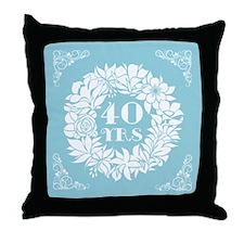 40th Anniversary Wreath Throw Pillow