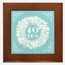 40th Anniversary Wreath Framed Tile