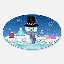 Christmas Snowman and Kittens Cute Holiday Art Sti