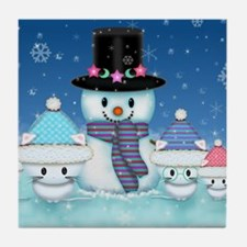 Christmas Snowman and Kittens Cute Holiday Art Til