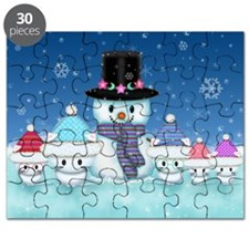 Christmas Snowman and Kittens Cute Holiday Art Puz