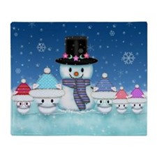 Christmas Snowman and Kittens Cute Holiday Art Thr