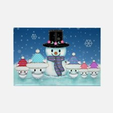 Christmas Snowman and Kittens Cute Holiday Art Mag