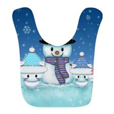 Christmas Snowman and Kittens Cute Holiday Art Bib