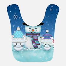 Christmas Snowman and Kittens Cute Holiday Art Bib