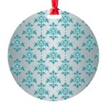 Teal Damask over Silvery Grey Ornament