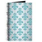 Teal Damask over Silvery Grey Journal