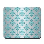 Teal Damask over Silvery Grey Mousepad