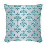 Teal Damask over Silvery Grey Woven Throw Pillow