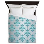Teal Damask over Silvery Grey Queen Duvet