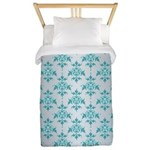 Teal Damask over Silvery Grey Twin Duvet