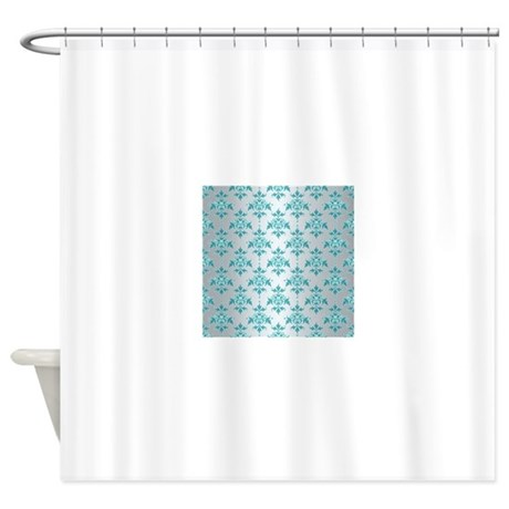 Teal Damask Over Silvery Grey Shower Curtain By Robmolily