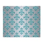 Teal Damask over Silvery Grey Throw Blanket