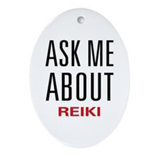 Ask Me About Reiki Oval Ornament