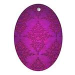 Vibrant Elegant Pink and Purple Damask Pattern Orn