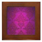 Vibrant Elegant Pink and Purple Damask Pattern Fra