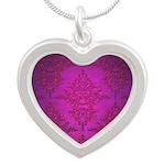 Vibrant Elegant Pink and Purple Damask Pattern Nec