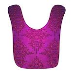Vibrant Elegant Pink and Purple Damask Pattern Bib