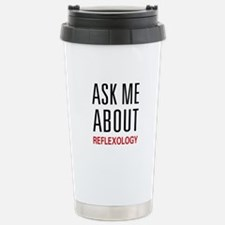Ask Me About Reflexology Stainless Steel Travel Mu