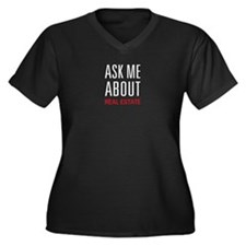 Ask Me Real Estate Women's Plus Size V-Neck Dark T
