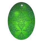 Bright Green Damask Pattern Ornament (Oval)